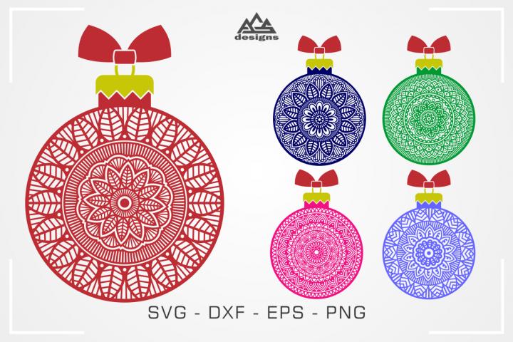 Mandala Zentangle Christmas Bulb Svg Design