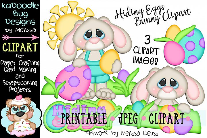 Hiding Easter Eggs Bunny Clipart - 3 JPEG Files