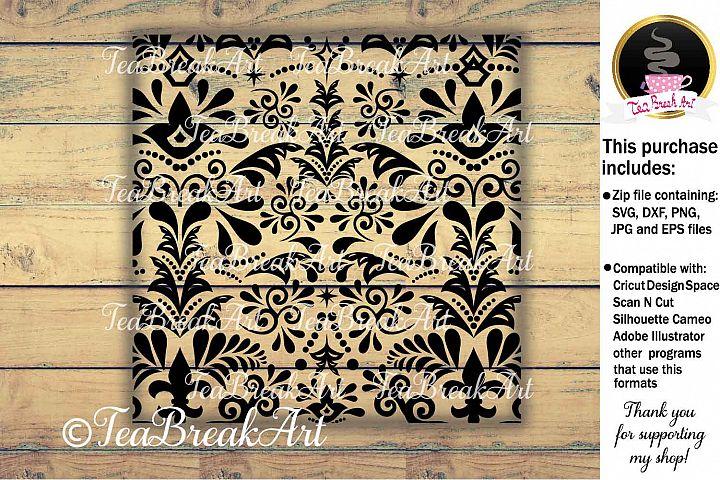 Digital zentangle pattern in square format 12x12 inch 906