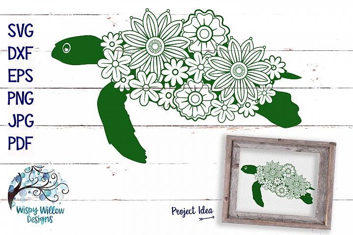 Floral Turtle SVG | Summer SVG Cut File