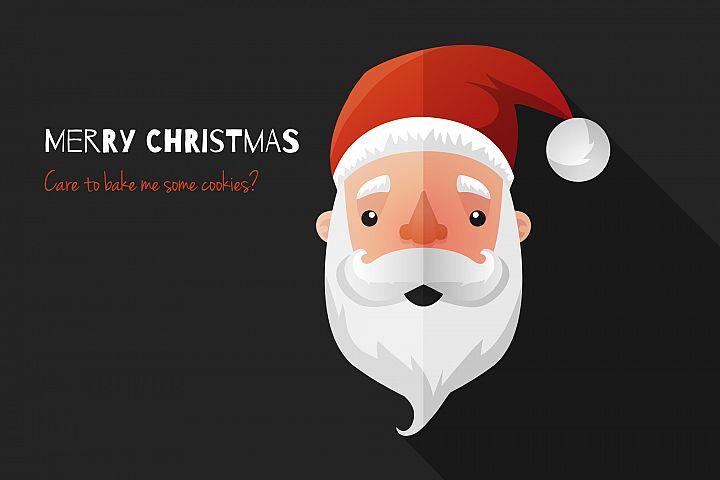 Flat Design Santa Claus Face. Icon. Greeting Card.