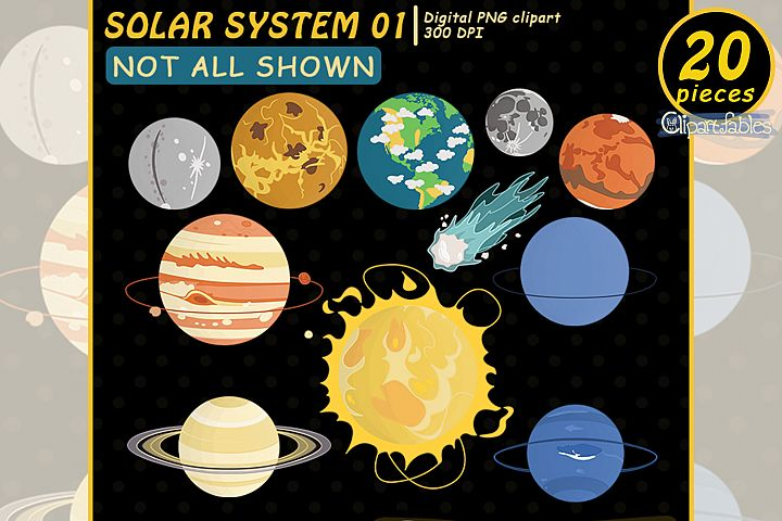Solar system clipart, Planet clip art, Cute Space design