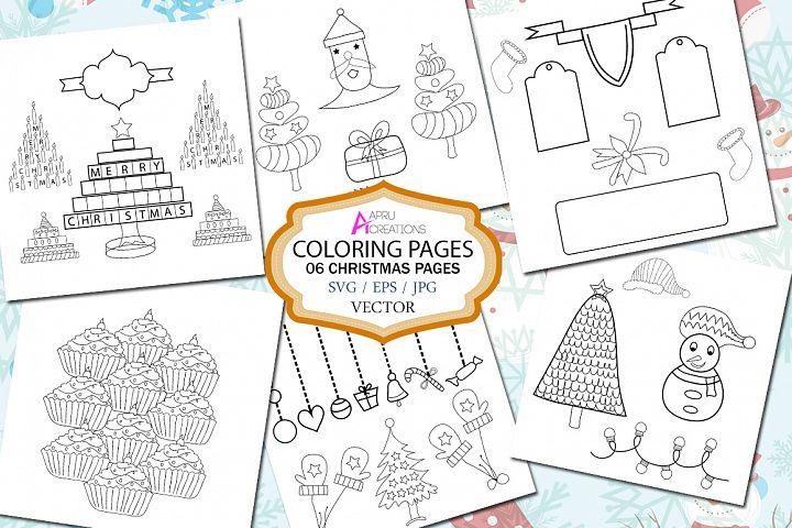Christmas coloring page / printable christmas coloring page vector SVG EPS and JPG / christmas set