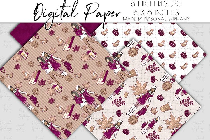 fall digital papers, autumn background, luxury planner girl