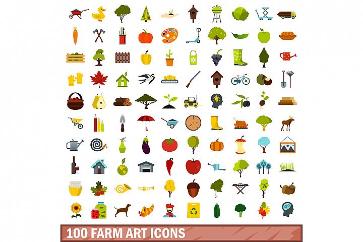 100 farm art icons set, flat style