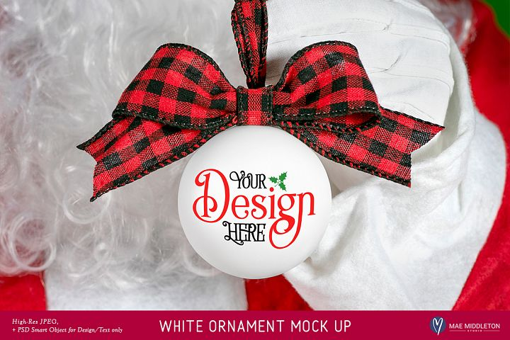 Christmas Mock up - Santas White Ornament