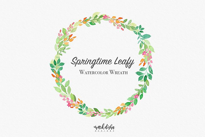 Springtime Leafy Watercolor Wreath