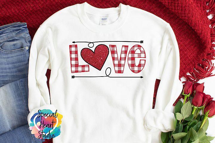 Buffalo Plaid Love - Hand lettered Valentine SVG
