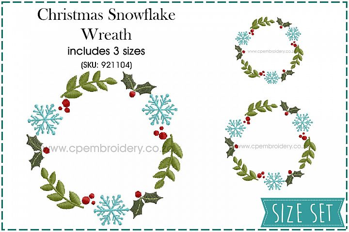 Christmas Snowflake and Mistletoe Wreath Embroidery Design