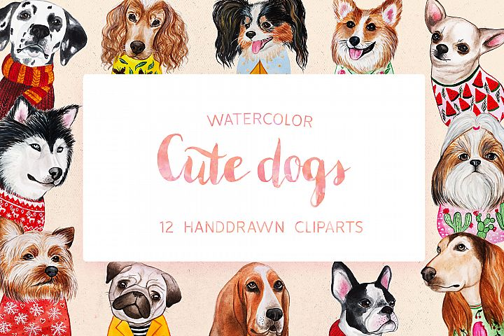 Watercolor Cute Dogs+Calendar