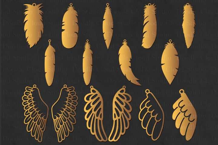 Feather Earring SVG, Wing Earring SVG,Tear Drop svg, Pendant svg files for Silhouette Cameo and Cricut.