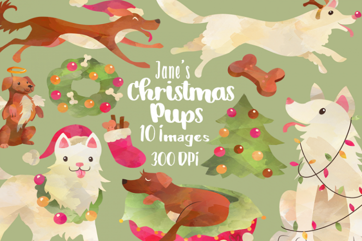 Watercolor Christmas Dogs Clipart