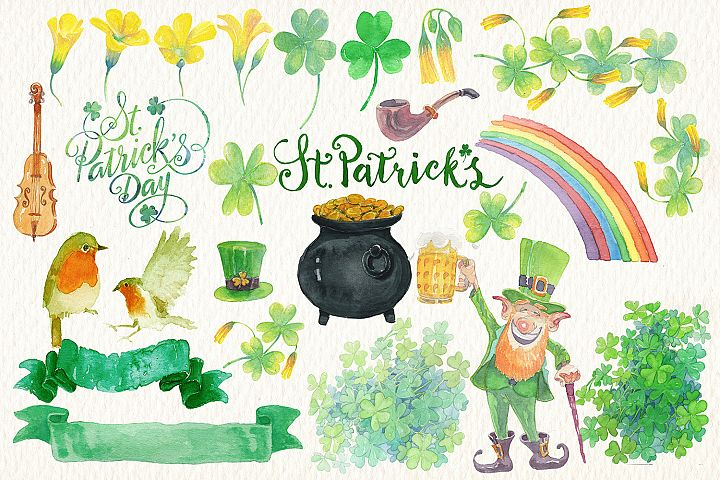 st. Patricks day watercolor clipart