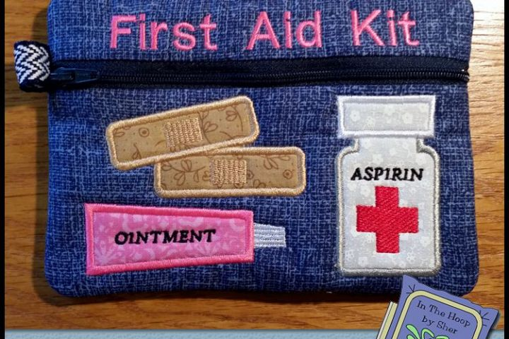 First Aid Kit Zipper Bag - Fully Lined, 5X7 HOOP