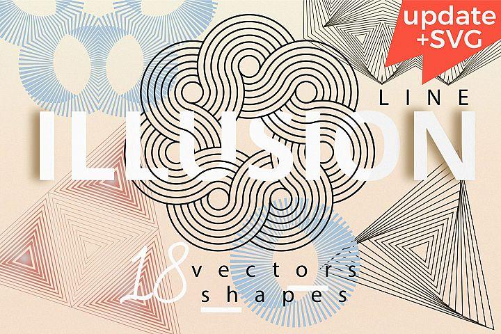 Illusion linear geometric shapes. Ai/SVG/PNG