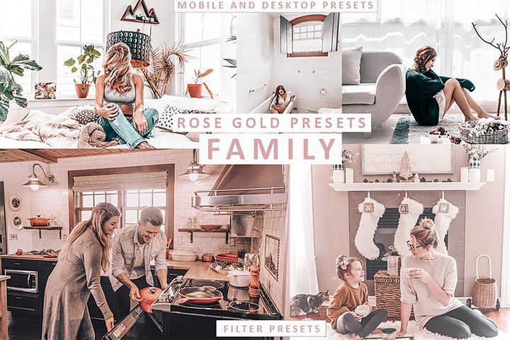 5 Mobile Lightroom Preset FAMILY, Pink Presets