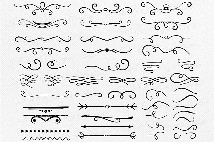 47 Text Dividers vector, Borders SVG - Swirls svg