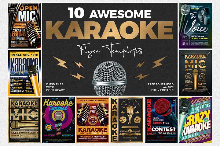 10 Karaoke Flyer Bundle