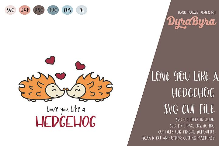 Love you like a Hedgehog / Valentine / Valentines day svg