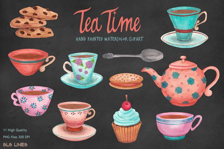 Tea Time Teacups & Cookies, Watercolors