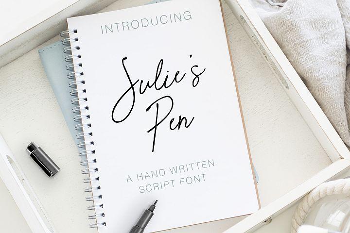 Julies Pen a Hand Written Script Font