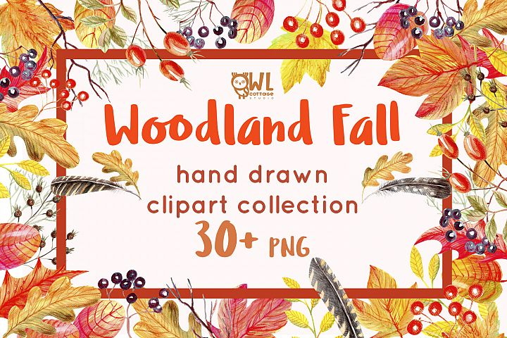 Woodland Fall Watercolor Clipart