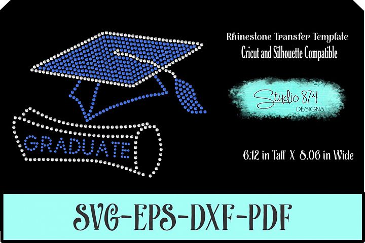 Graduate - Grad Cap Rhinestone SVG Template R1