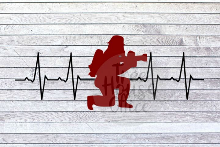 Firefighter Heartbeat Lifeline Hero Fireman SVG DXF PNG JPEG