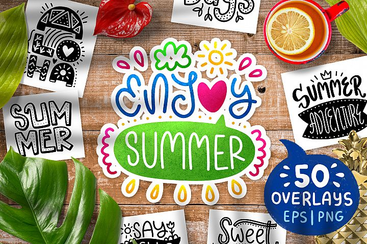 50 Summer Lettering Overlays