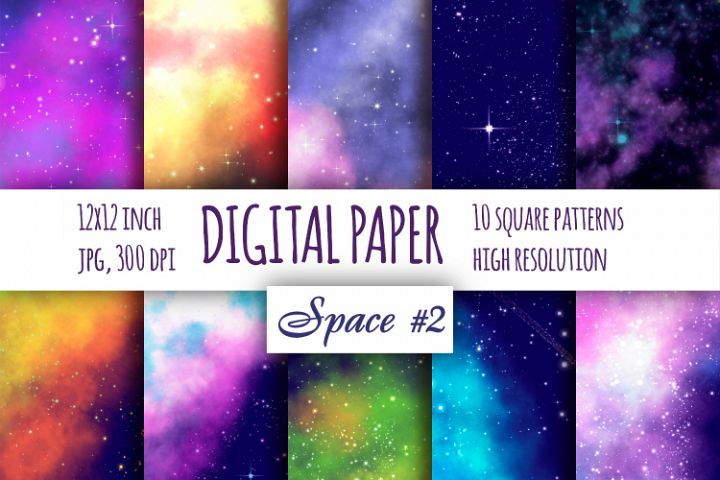 Space Fantastic digital paper. Galaxybright pattern pat.2