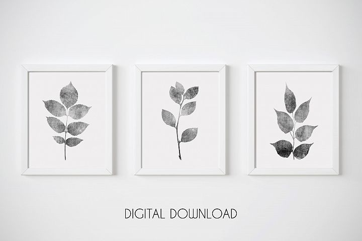 Gray Leaf Print, Botanical Print Set of 3, Gray Wall Art Set