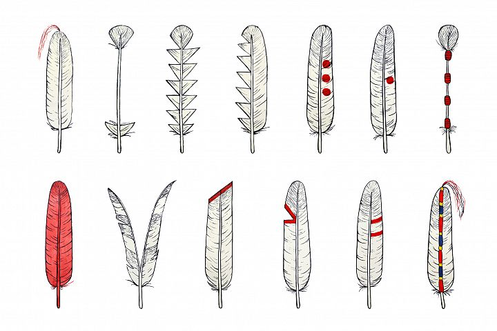 Hand drawn Native American feathers example 1
