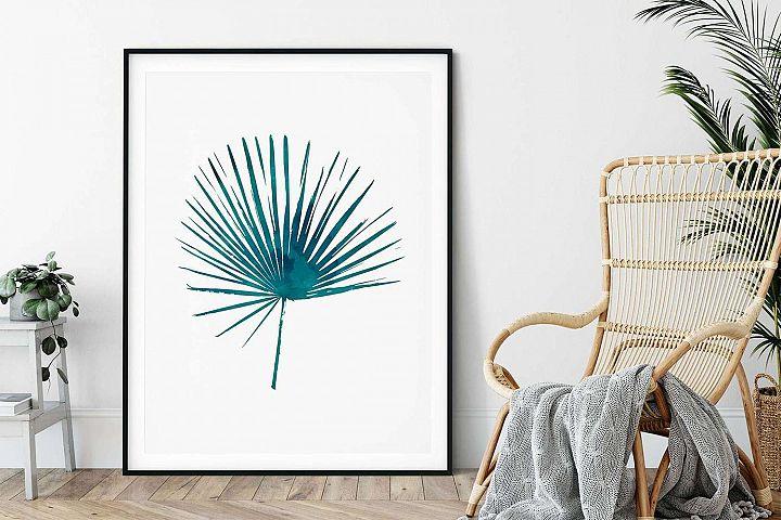 Blue Palm Print, Printable Wall Art