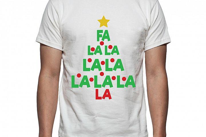 Fa La La Christmas Tree Tee Shirt Design