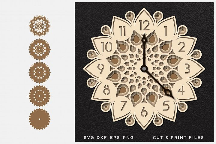 Wall Clock SVG, Cut file Mandala, Cut multilayer Mandala, 3D