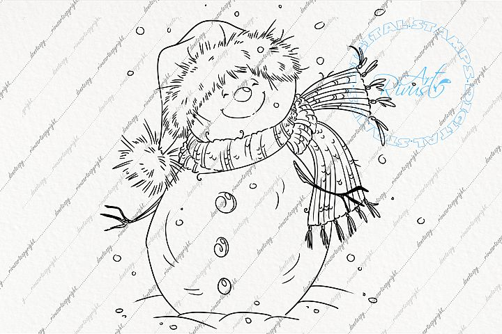 Digital stamp download - Christmas digi stamp, Cute Snowman