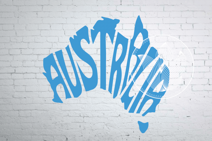 Digital Australia Word Art in map shape, Australia jpg, png