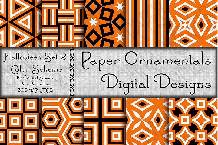 Halloween Geometric Patterns Set 2 Digital Paper