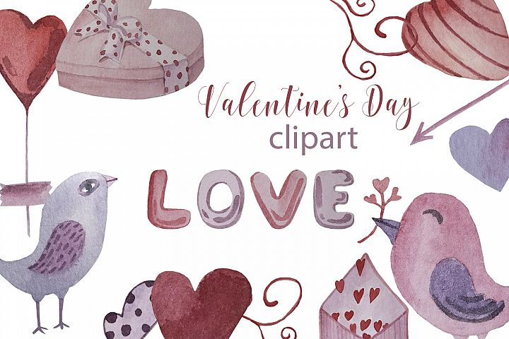 Watercolor set, patterns and tags for Valentines Day.