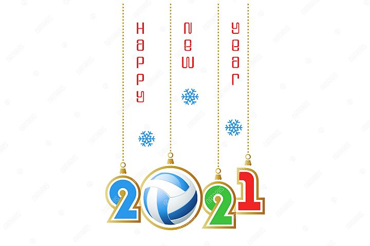 2021 Happy New Year. Sports greeting card. Volleyball.