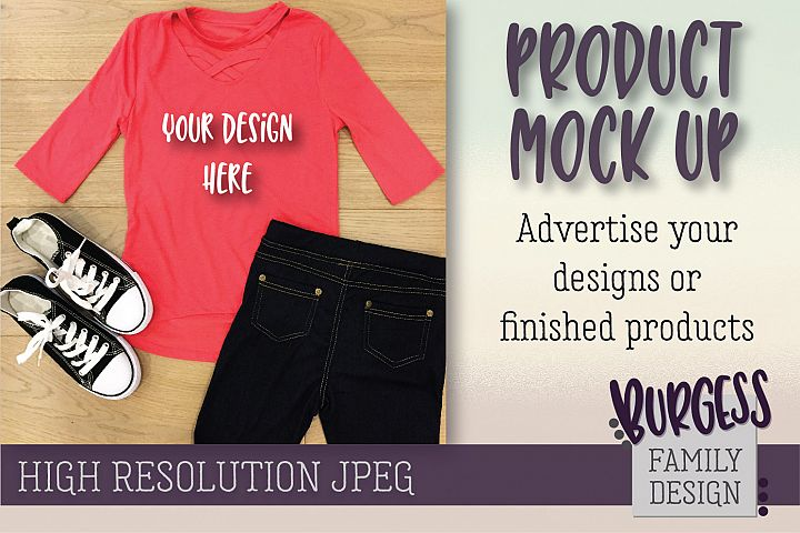 MOCK UP Girls pink top & jeans | High Resolution JPEG example 1