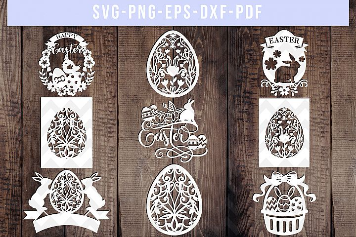 Bundle Of 9 Birthday Papercut Templates, SVG Cut Files, PDF