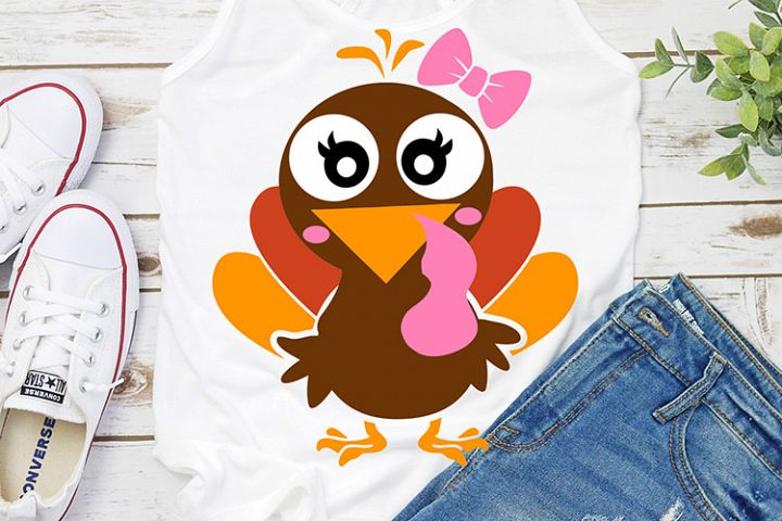 turkey girl thanksgiving svg dxf eps png