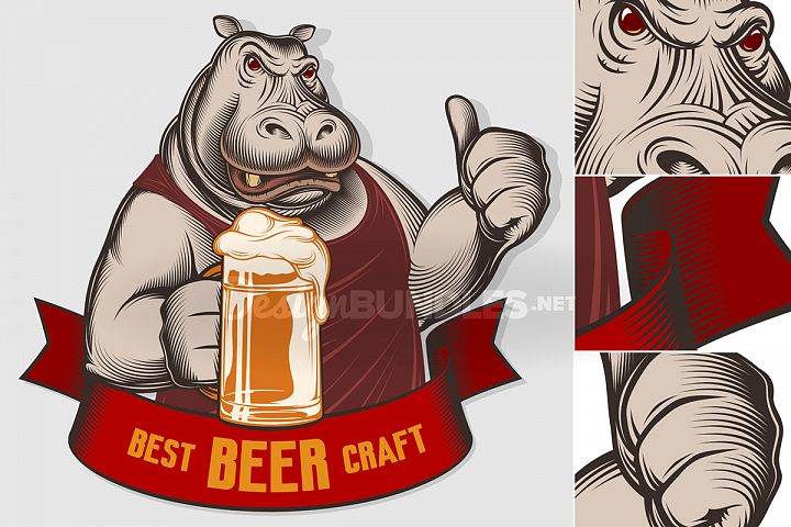 Hippopotamus Beer Glass Craft Thumb Emblem Engraved Ink