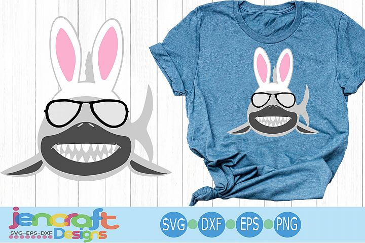 Easter Bunny Shark Svg, Sunglasses svg, eps, dxf, png