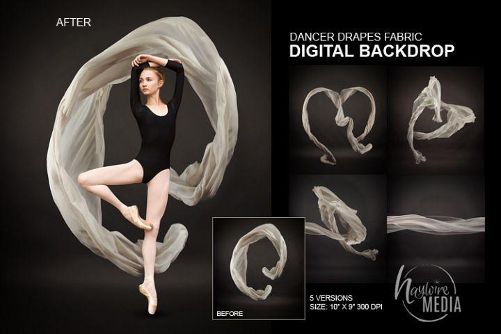 Ballet Dancer Studio Portrait White Drapes Backdrop JPG