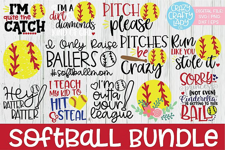 Softball SVG DXF EPS PNG Cut File Bundle