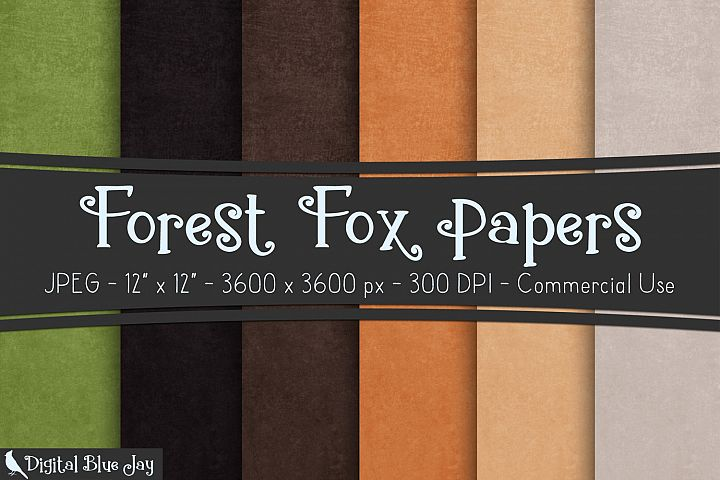 Digital Paper Textured Backgrounds - Forest Fox