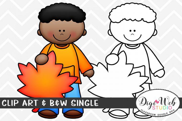 Clip Art & B&W Single - Fall Boy w/ Autumn Leaf