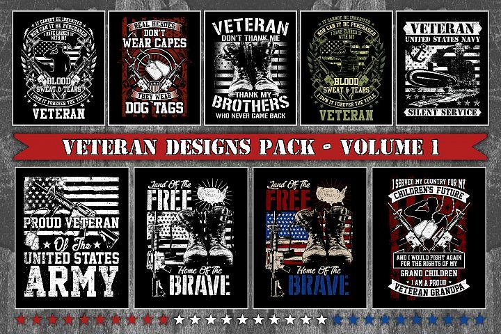 Bundle T-Shirt Designs Veteran Theme - Volume 1